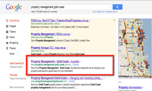 Google Page One - Property Management Gold Coast